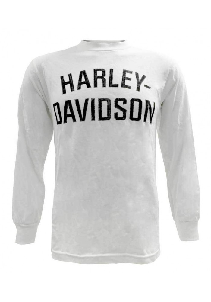 Harley Davidson Homme Chemise, Heritage H-D Script Manches Longues, Blanc 30296634