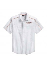 Harley Davidson Homme Chemise, Vented Performance Bar & Shield, Blanc 99035-15VM