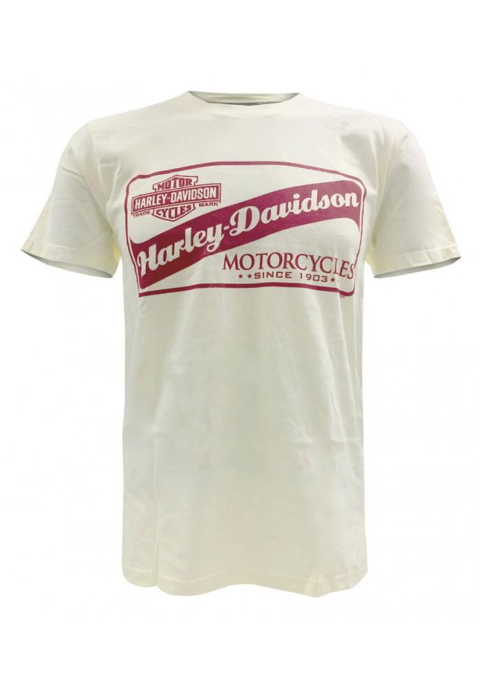 Harley Davidson Homme Tee Shirt Manches courtes, Cruiser's Art H-D Script, Crème