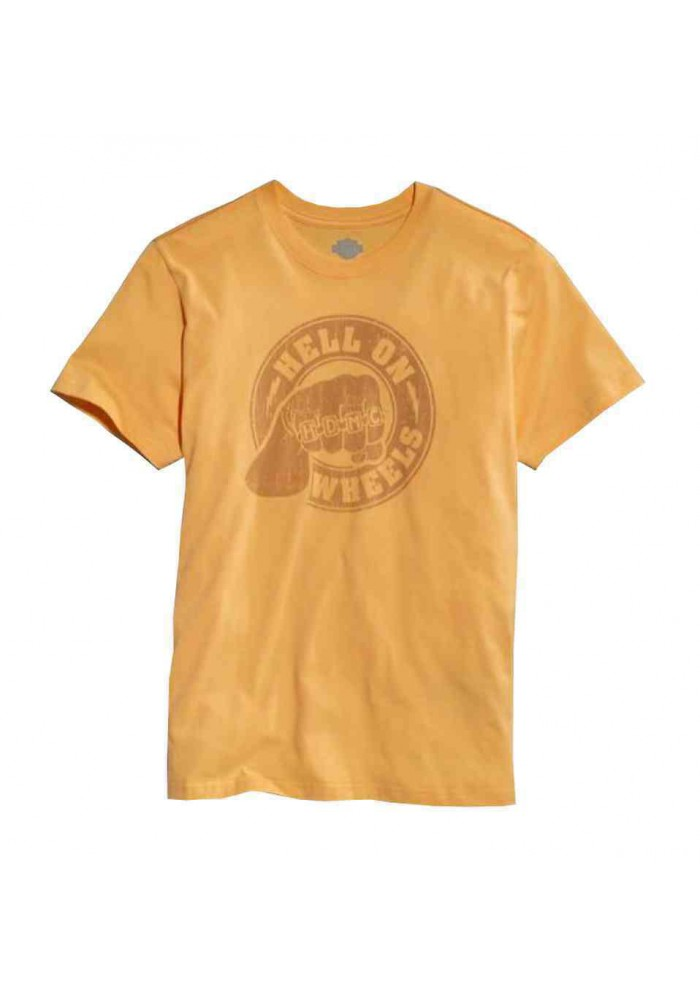 Harley Davidson Homme Tee Shirt, Hell On Wheels Knuckles , Amber 96057-15VM