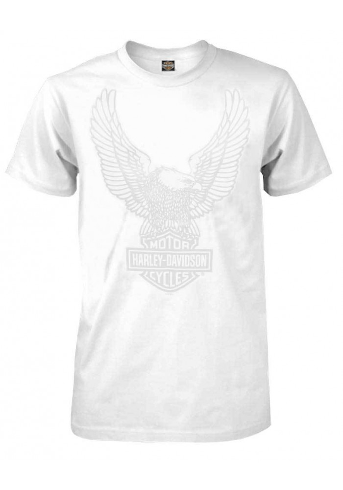 Harley Davidson Homme Up Swept Eagle Tee Shirt Manches Courtes, Blanc 30296657