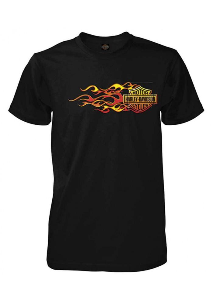 Harley Davidson Homme Up In Flames Bar & Shield Tee Shirt, Noir