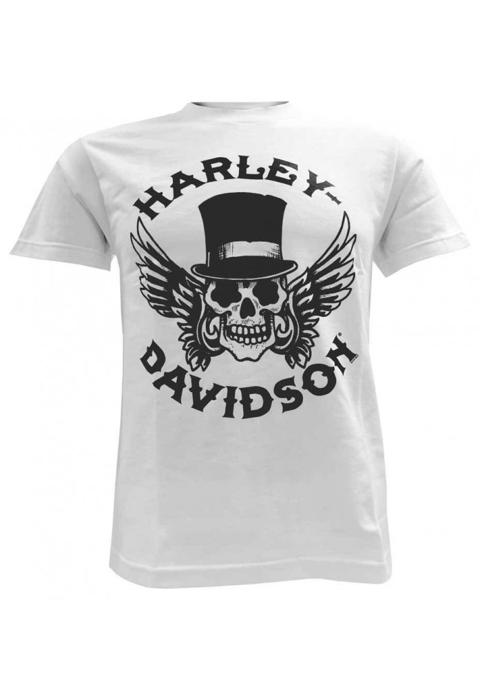 Harley Davidson Homme Way of Life Skull Tee Shirt Manches courtes Blanc 30298309