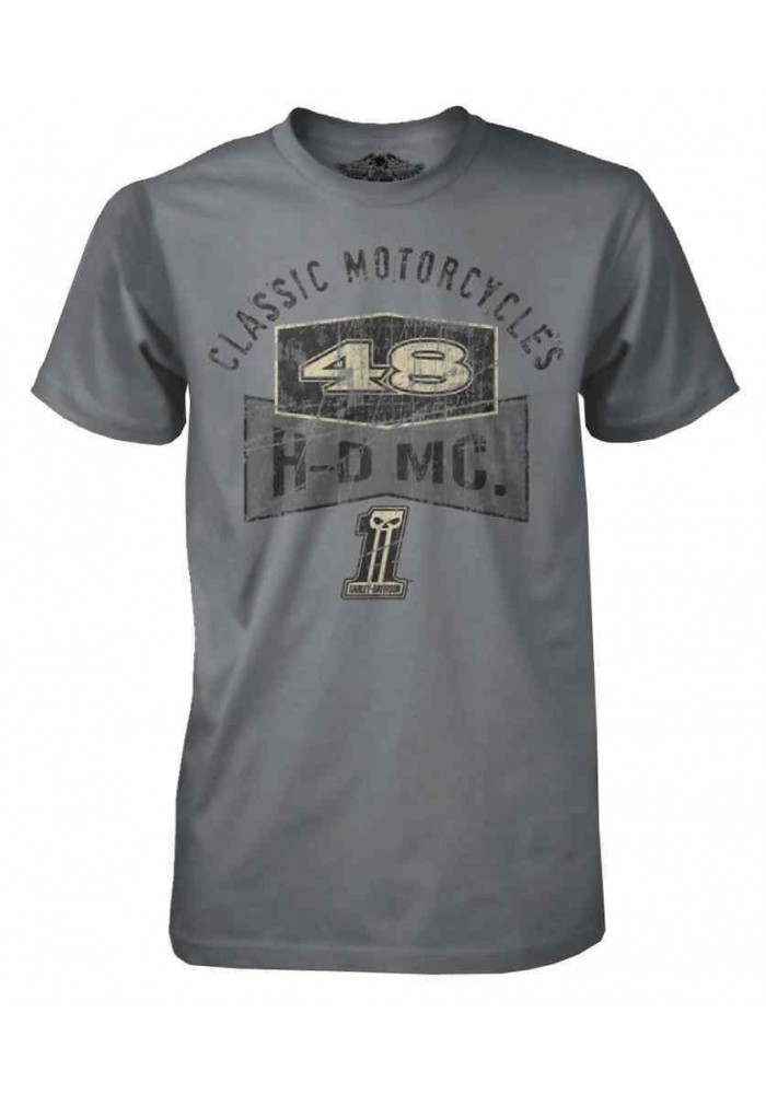 Harley Davidson Homme Black Label Classic HDMC Tee Shirt Manches courtes Gris 30291301