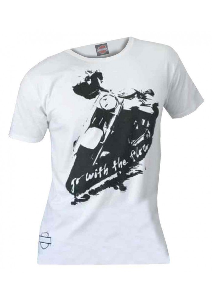 Harley Davidson Homme Tee Shirt, Go With The Flow Motorcycle Graphic, Blanc