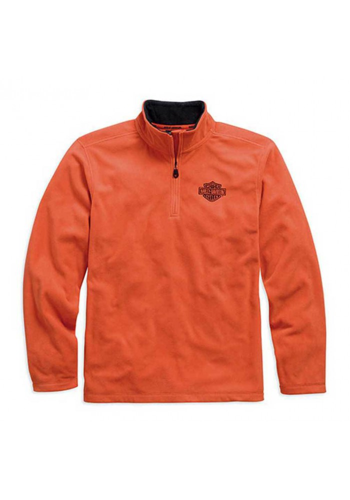 Harley Davidson Homme 1/4-Zip Manches Longues Logo Polaire Chemise, Orange. 99002-15VM