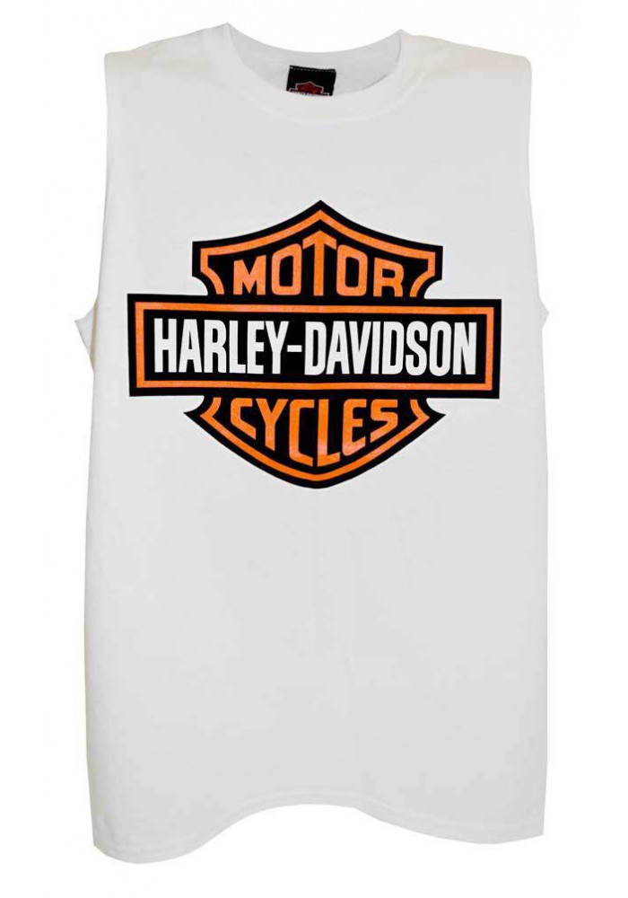 Harley Davidson Homme Bar & Shield Logo Sable Tank Top, Blanc Muscle Tee Shirt 30296625