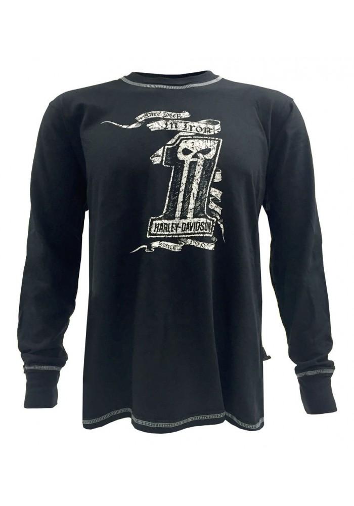Harley Davidson Homme Black Label Chemise, Knee Deep Manches Longues, Noir 30293311
