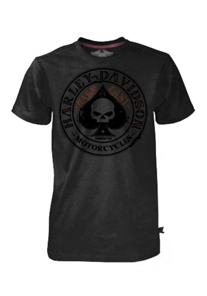 Harley Davidson Homme Tee Shirt Black Label, Willie G Skull Spade, Noir 30293438