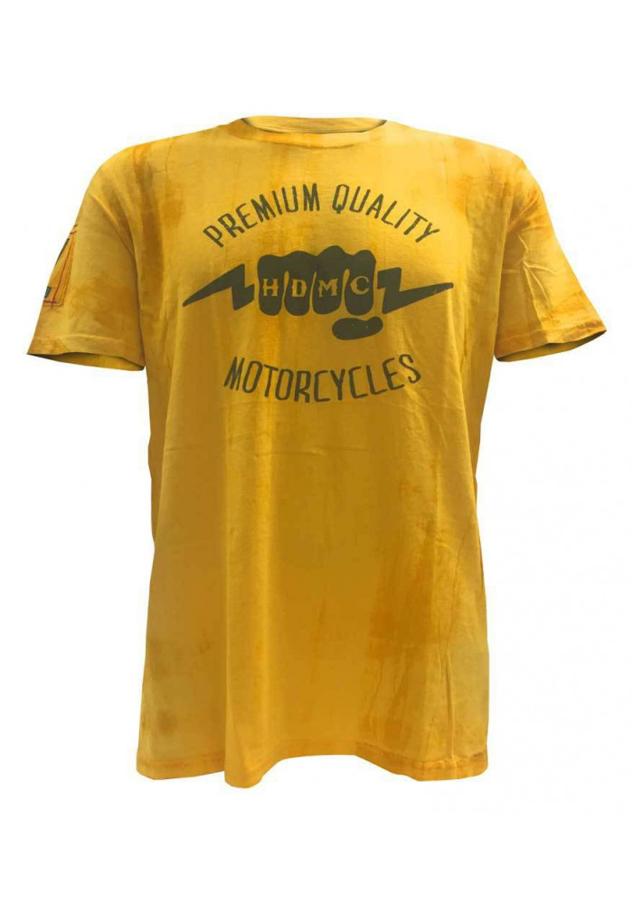 Harley Davidson Homme Black Label Washed Tee Shirt, HDMC Lightning Knuckles, Gold