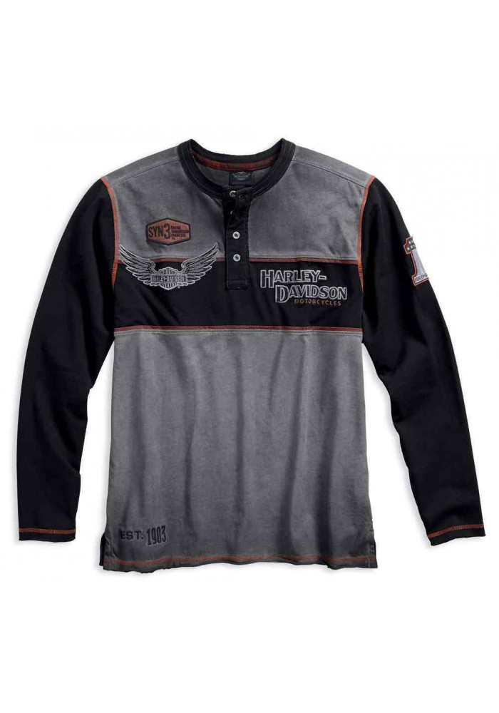 Harley Davidson Homme Iron Block Manches Longues Henley 99007-17VM