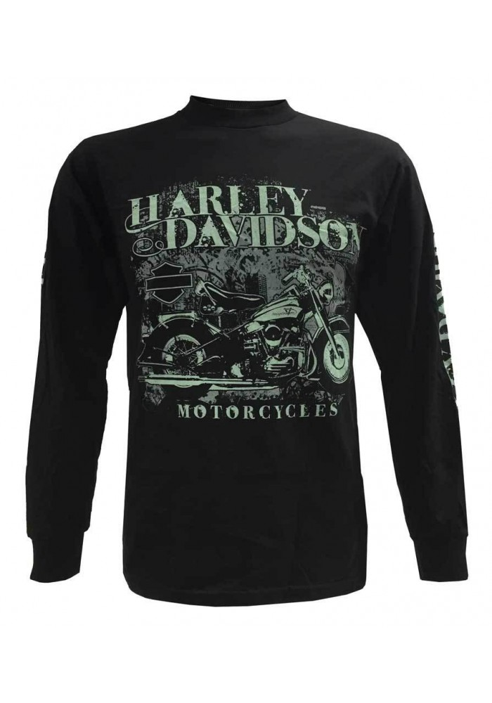 Harley Davidson Homme Chemise Manches Longues, Urban Motorcycle Ride Graphic, Noir