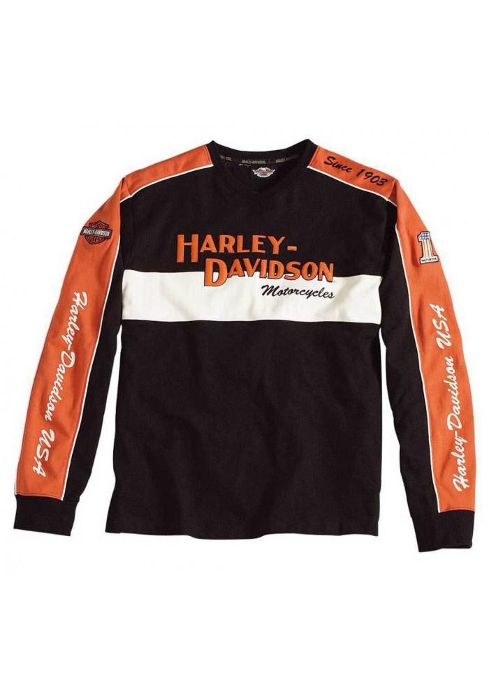 Harley Davidson Homme Prestige Manches Longues Noir & Orange 98477-06VM