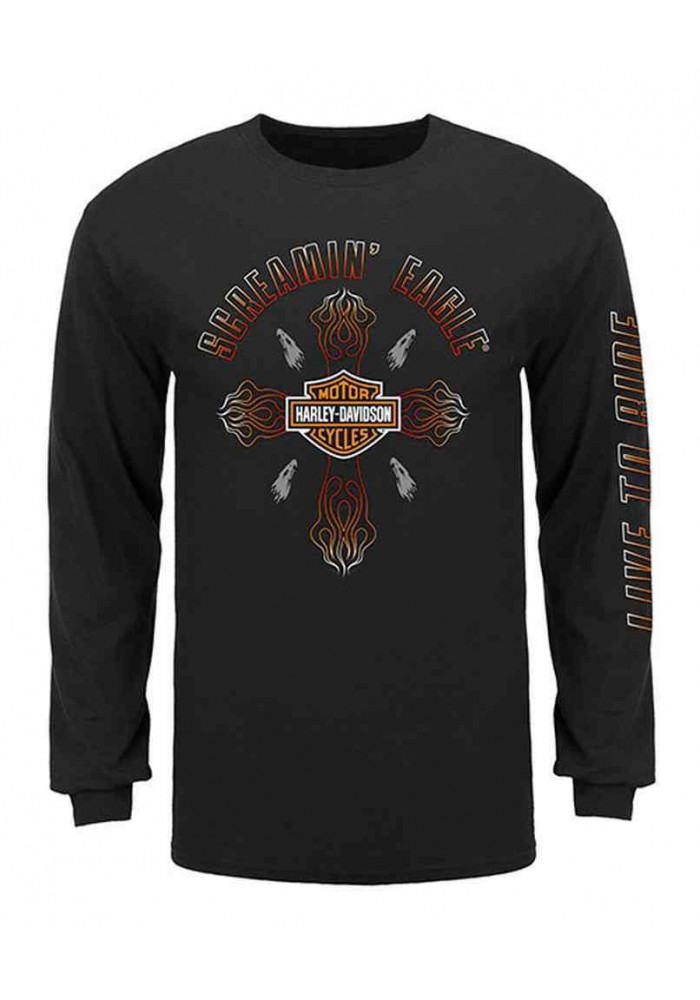 Harley Davidson Homme Eagle Cross Flame Chemise Manches Longues, HARLMT0232