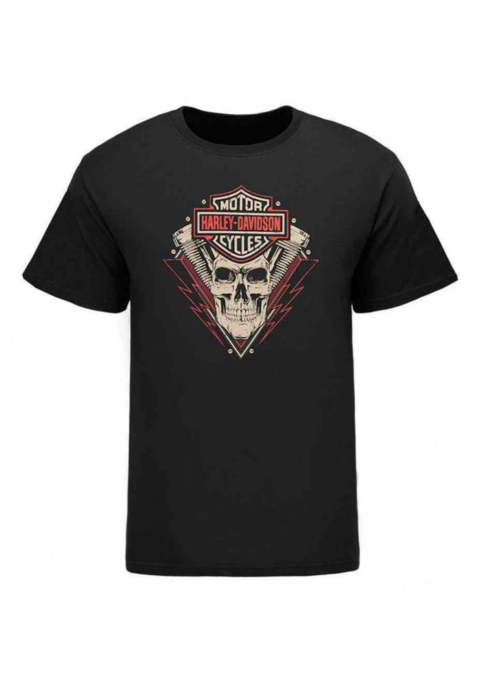 Harley Davidson Homme Eagle Lightning Skull T-Shirt, Noir HARLMT0239