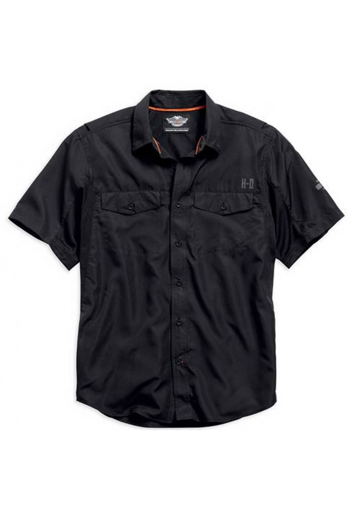 Harley Davidson Homme Stay Cool Performance Manches courtes Button  Chemise, Noir. 99017-15VM