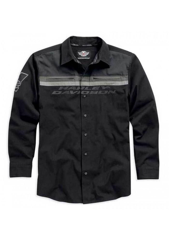 Harley Davidson Homme Manches Longues Button Chemise Noir/Gris. 99009-15VM