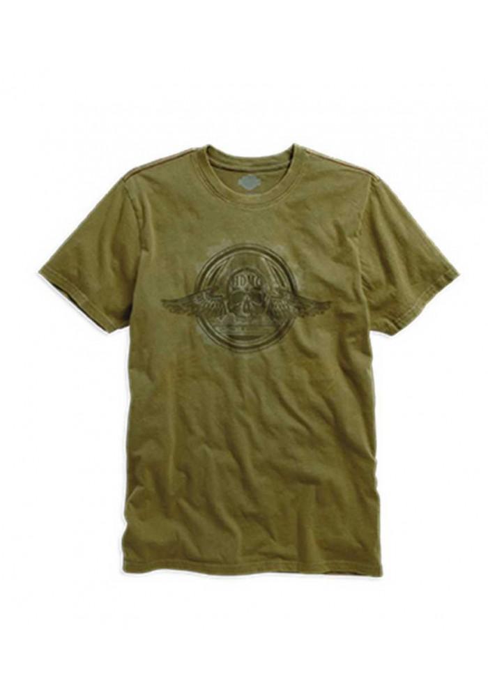 Harley Davidson Winged Skull T-Shirt Manches Courtes, Olive. 96188-16VM