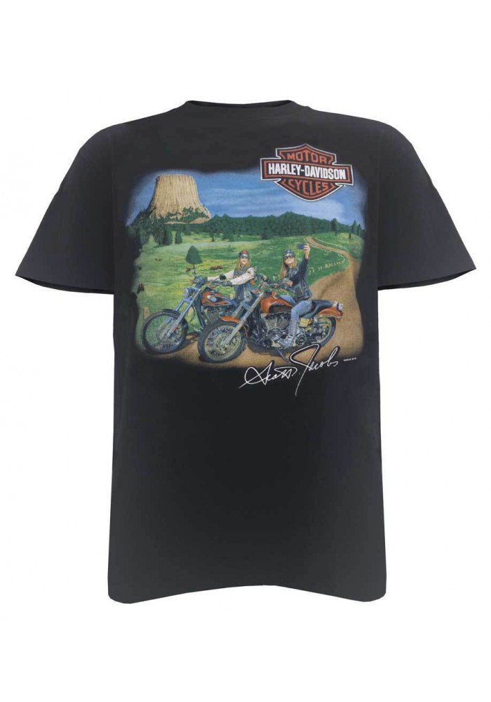 Harley Davidson Homme Close Encounter T-Shirt Manches Courtes, Noir 5503-HC57