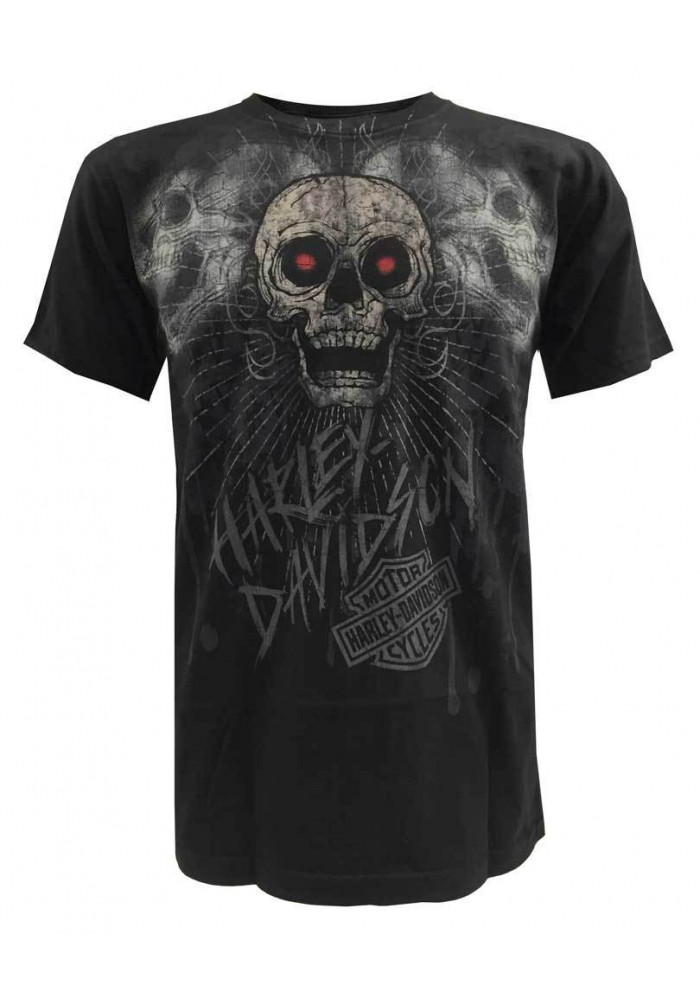 Harley Davidson Homme Corpus Three Skulls Graphic, T-Shirt Manches Courtes, Noir