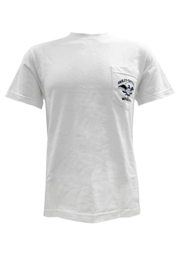 Harley Davidson Homme Eagle Bar & Shield Profile Tee, Manches Courtes Blanc