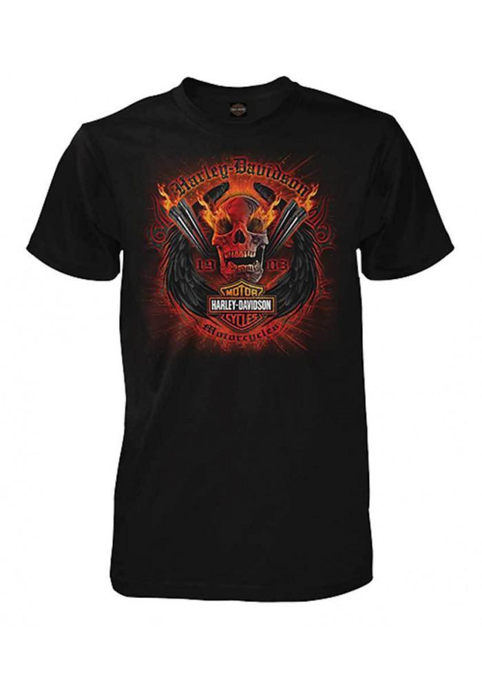 Harley Davidson Homme Explosive Winged Skull T-Shirt Manches Courtes, Noir