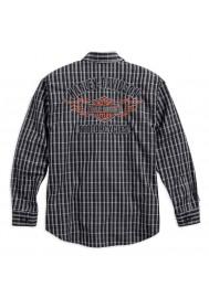 Harley Davidson Homme Flames Plaid Chemise Manches Longues, Noir/Blanc. 99006-16VM