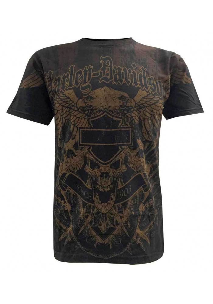Harley Davidson Homme Freedom & Fury Mixed T-Shirt Manches Courtes, Noir