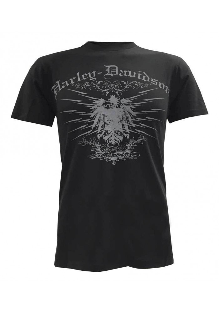 Harley Davidson Homme Tee Shirt Manches Courtes, Charged Eagle Graphic, Noir