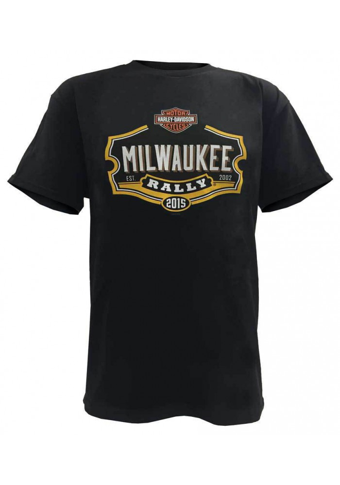 Harley Davidson Homme Milwaukee Rally 2015 T-Shirt Manches Courtes, Noir B112763
