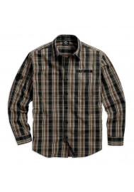 Harley Davidson Homme Plaid Logo Manches Longues Chemise, Cotton Blend Noir/Sable. 99012-16VM