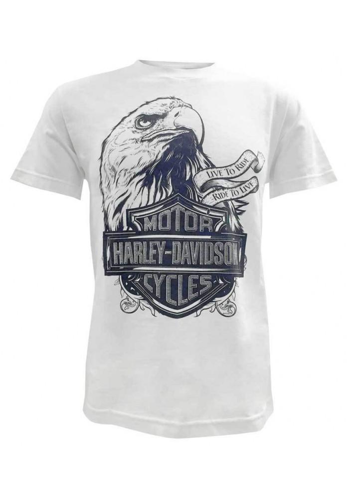 Harley Davidson Homme Prestige Eagle T-Shirt Manches Courtes Blanc 30298300