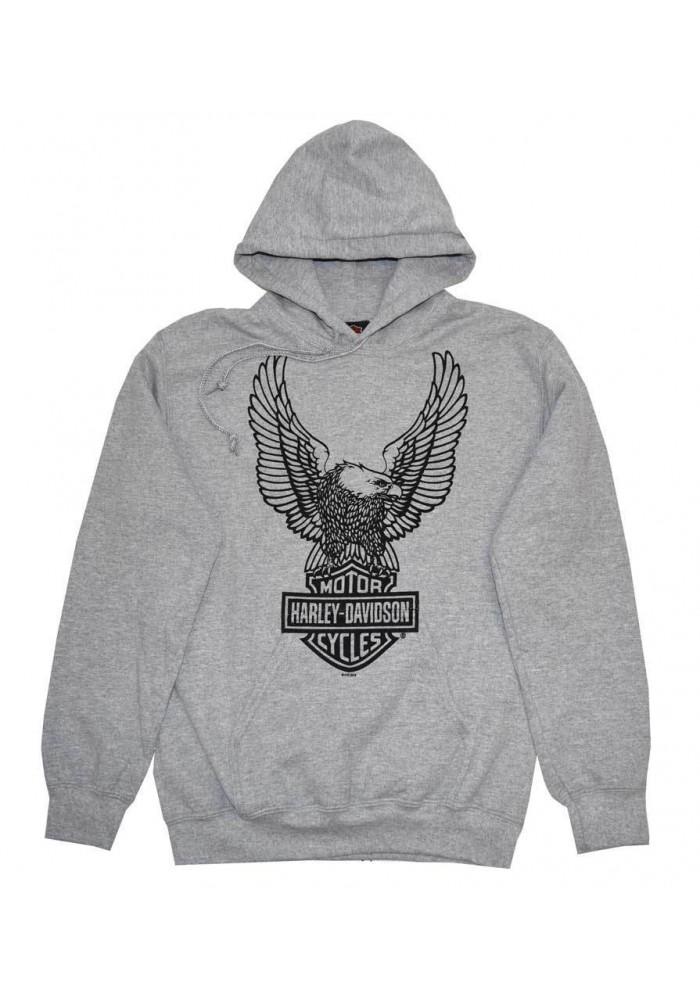 Harley Davidson Homme Pullover Sweatshirt à Capuche, H-D Eagle Gris 30296665
