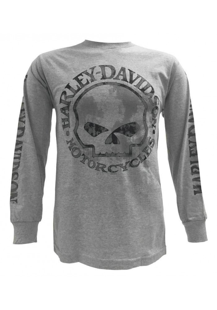 Harley Davidson Homme Tee Shirt, Willie G Skull Manches Longues, Gris 30296651