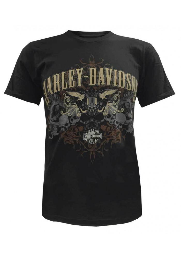 Harley Davidson Homme Tee Shirt Manches Courtes Shirt, Skull Motorcycle Graphic