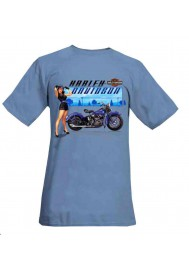 Harley Davidson Homme Manches Courtes Out Of The Bleu Pin-Up Lady Tee, Slate Bleu