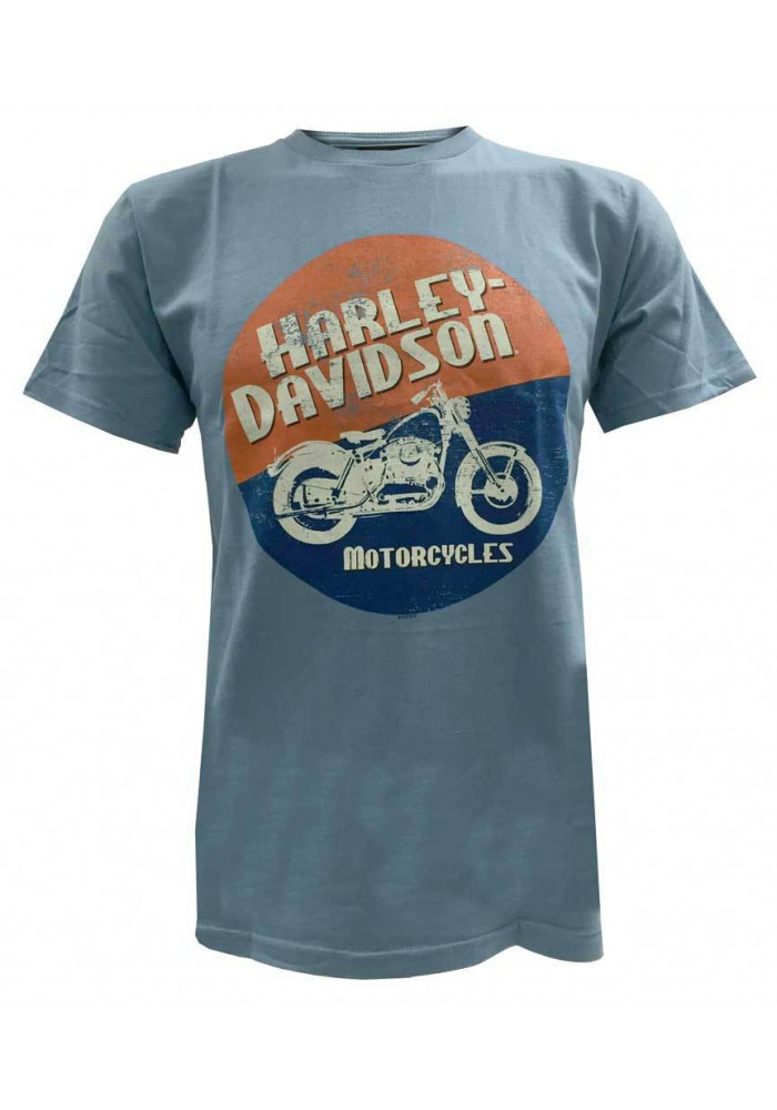 Harley Davidson Homme T-Shirt Manches Courtes, Circle Moto Motorcycle Graphic, Bleu