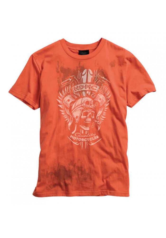 Harley Davidson Homme Skull Tee Shirt Graphique Shirt Manches Courtes, Vintage Orange 96004-15VM