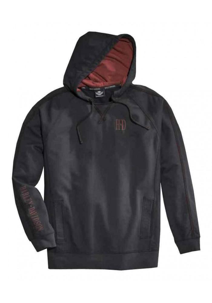 Harley Davidson Homme Sleeve Stripe à Capuche Pullover Sweatshirt, Noir 96063-16VM