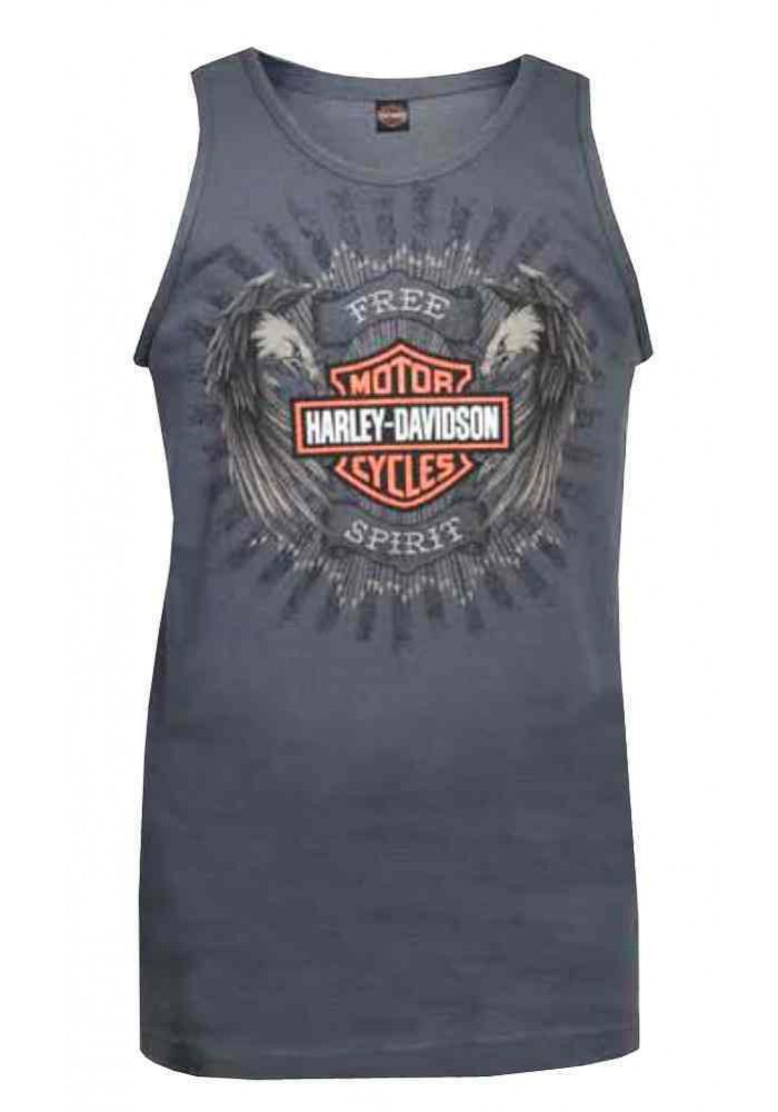 Harley Davidson Homme Tee Shirt sans Manches Muscle, Dual Eagles Bar & Shield, Charcoal