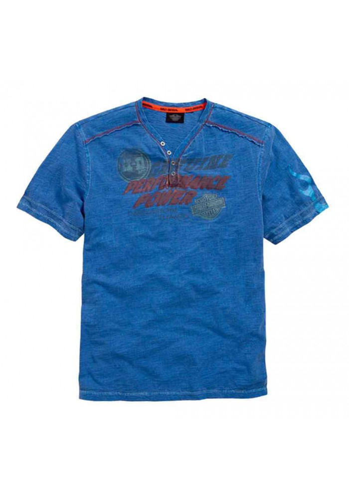 Harley Davidson Homme T-Shirt, HDMC Power Manches Courtes Henley, Bleu 96477-15VM