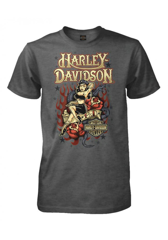 Harley Davidson Homme Tatted Up Pin Up Lady T-Shirt Manches Courtes, Charcoal