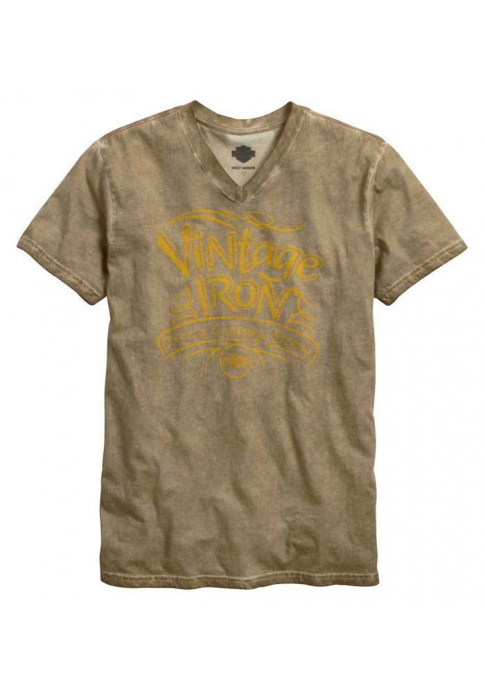 Harley Davidson Homme Vintage Iron Col V Manches Courtes Washed T-Shirt 96054-15VM