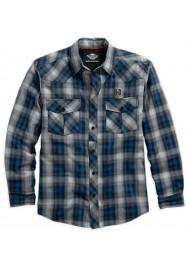 Harley Davidson Homme Wrinkle-ResisSablet Plaid Chemise, Gris/Bleu. 96055-16VM
