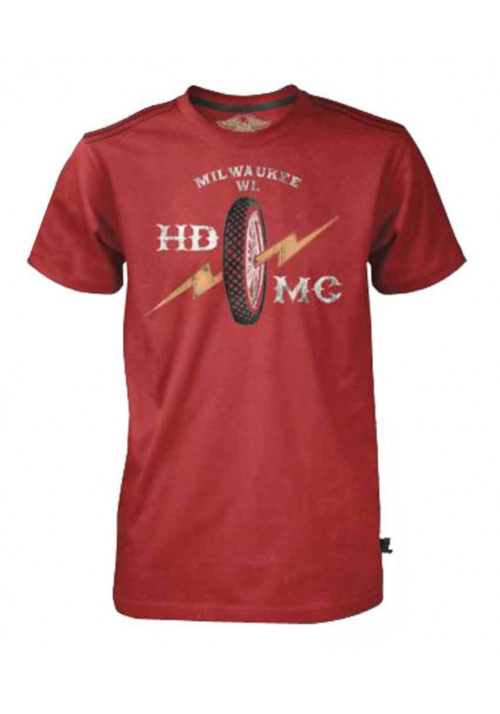 Harley Davidson Homme Black Label Bolt Wheel T-Shirt Manches Courtes, Washed Rouge