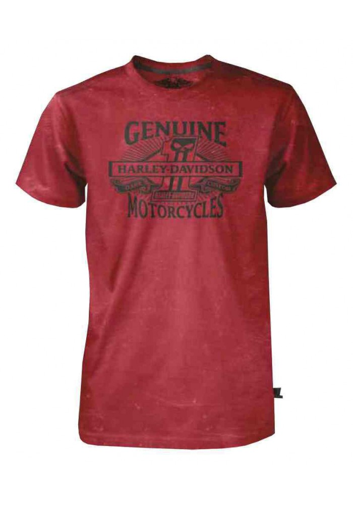 Harley Davidson Homme Black Label Genuine T-Shirt Manches Courtes - Rouge 30293140