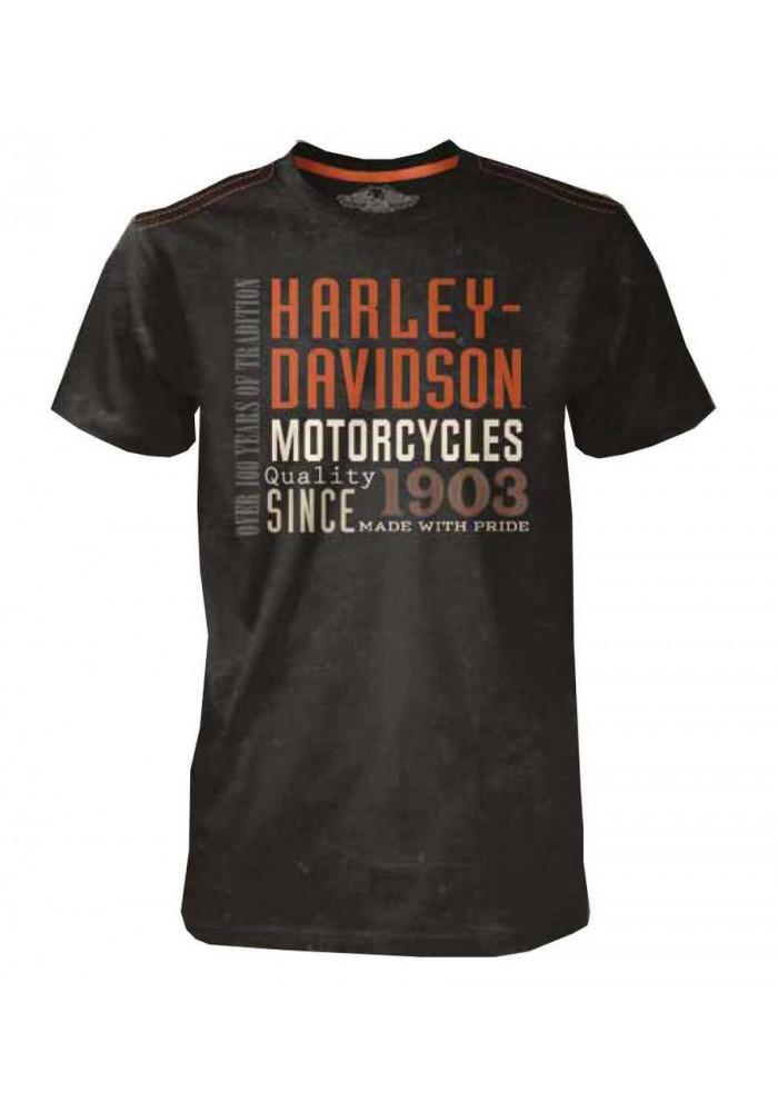 Harley Davidson Homme Black Label T-Shirt, H-D Type Manches Courtes, Noir 30293146