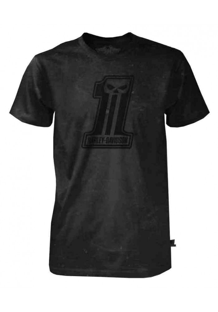 Harley Davidson Homme Black Label Washed Out T-Shirt Manches Courtes Noir 30291729