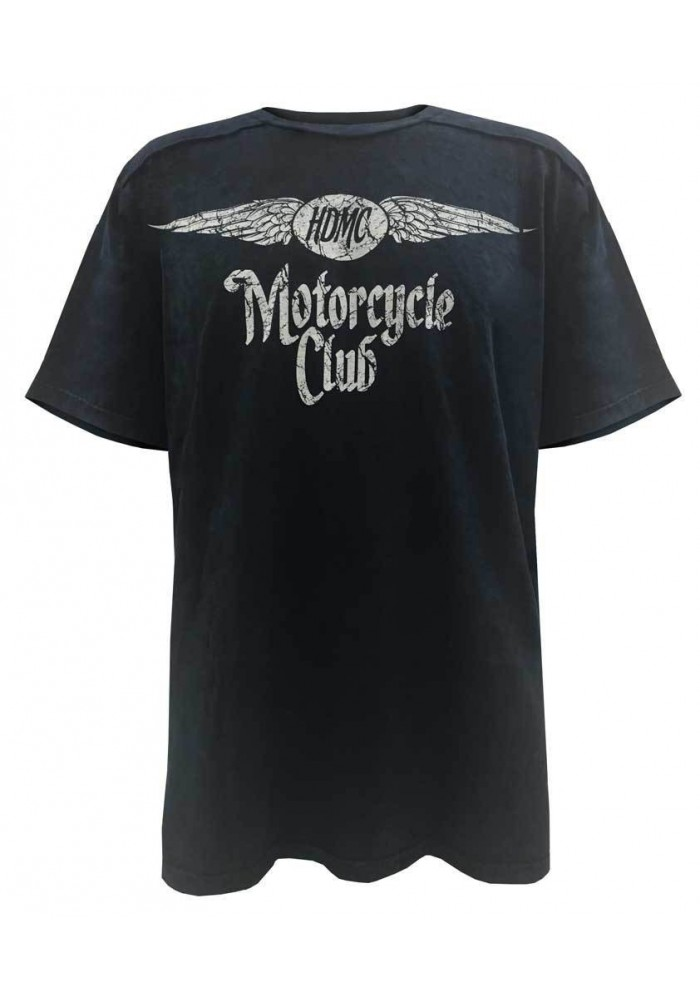 Harley Davidson Homme Black Label Washed T-Shirt, Distressed HDMC Winged, Bleu
