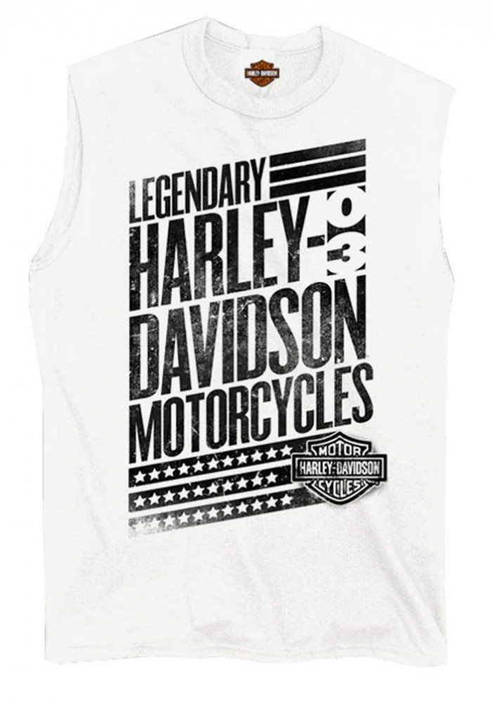 Harley Davidson Homme Distressed Culture H-D Script Tee Shirt sans Manches Muscle, Blanc